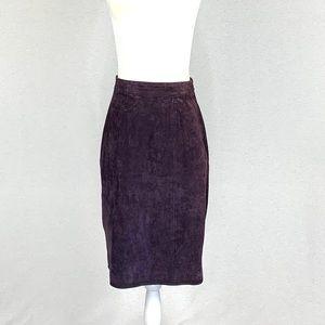 Berman's Vintage Deep Purple Suede Pencil Skirt